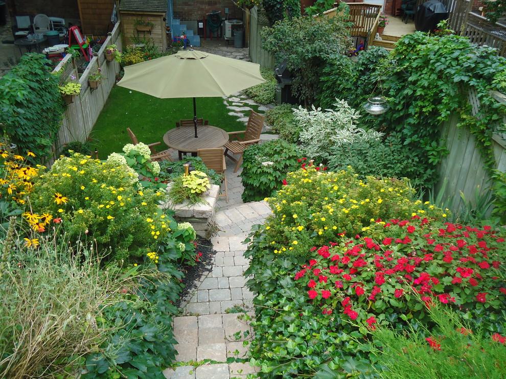 Patio - small traditional backyard brick patio idea in Toronto with no cover