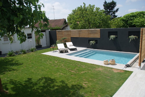 Am nagement d 39 un jardin et cr ation d 39 une piscine diy - Amenagement piscine design saint etienne ...