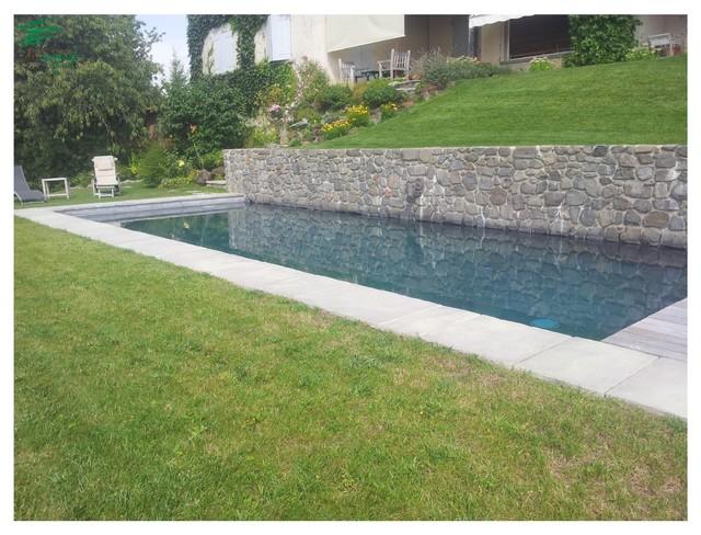 Mur de piscine et am nagement complet classique for Piscine clermont