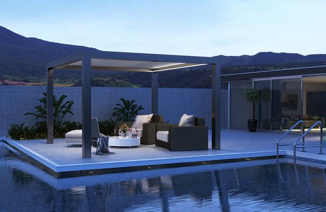 Pergolas moderno piscina marsella de isotech fenetres for Pergolas para piscinas