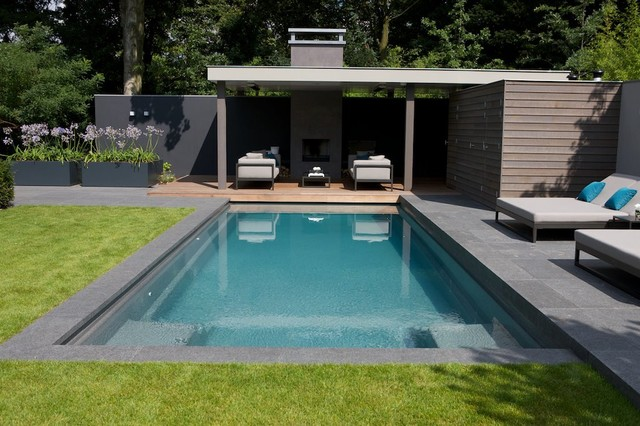 Piscine design for Jardin contemporain avec piscine