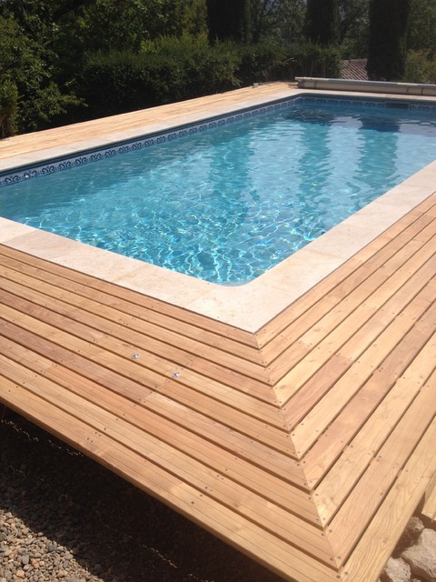 Piscine plage bois 4x7 rectangle liner gris modernit et for Liner piscine en bois octogonale