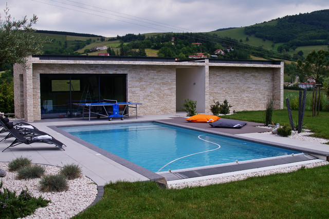 Pool house contemporain piscine lyon par piegay for Environnement piscine