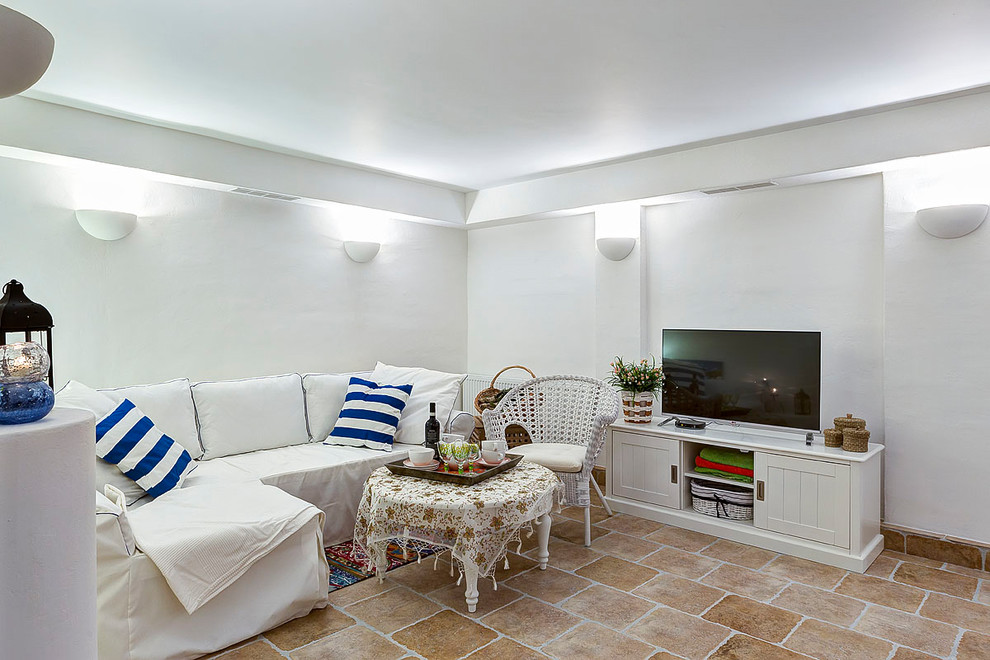 Beach style underground brown floor basement photo in Moscow with white walls and no fireplace