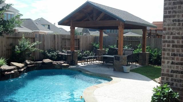 12 39 x12 39 cedar double gable cabana with exposed beams for Custom pool cabanas