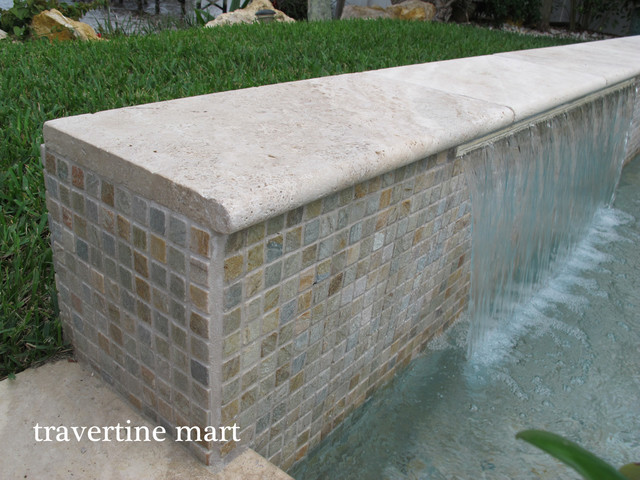 12x24 Ivory Travertine Pool Coping and Tiles - Natural Stone ...