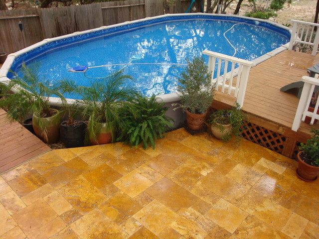15x30 oval pool traditional pool austin by the for Above ground oval pool deck plans