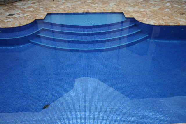 "2"" x 2"" iridescent glass tile pool contemporary-pool"