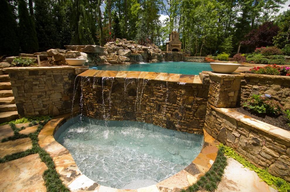 Inspiration for a tropical pool remodel in Atlanta