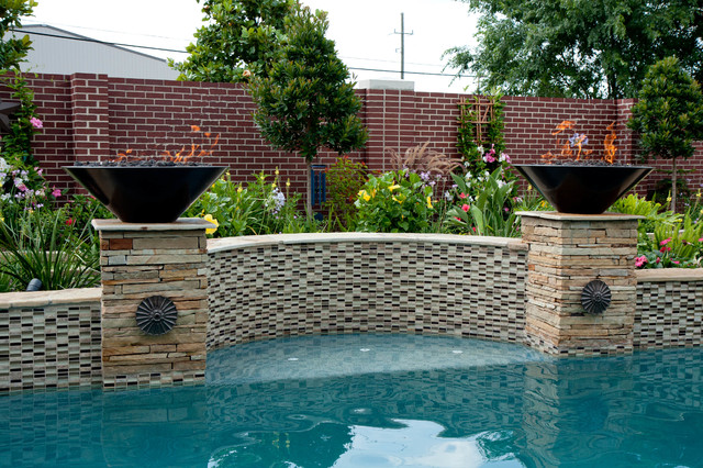 Swimming Pool Fire : Quot wok fire bowl tropical pool houston by c s w