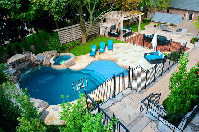 A Backyard Pool Oasis Traditional Swimming Pool Hot