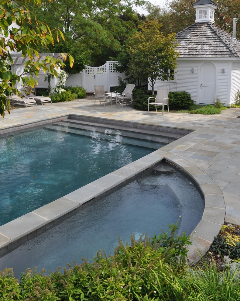 Inspiration for a timeless rectangular pool remodel in Chicago