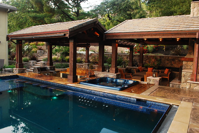 Example Of A Large Classic Backyard Stone And Rectangular Natural Hot Tub  Design In San Francisco