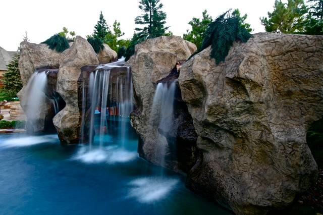 A Rustic Mine Themed Pool Grotto in Oklahoma Rustic
