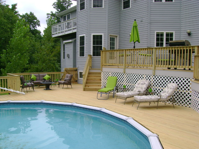 Above Ground Pool Deck Traditional Pool Other Metro