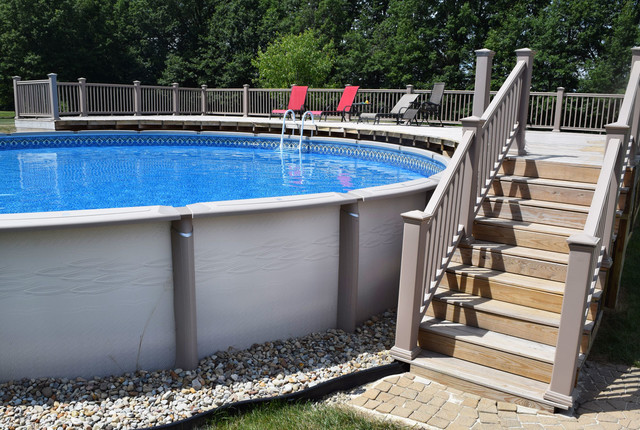 Above ground with deck pool cleveland by litehouse pools for In ground swimming pool contractors