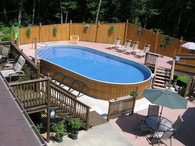 wooden deck ideas for above ground pool | Above ground wooden swimming pools - Traditional - Pool ...
