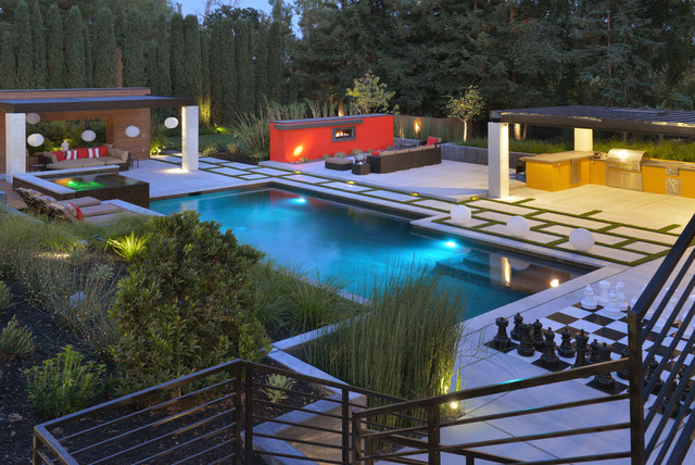 Alamo Hillside Modern Home And Pool Contemporary Pool