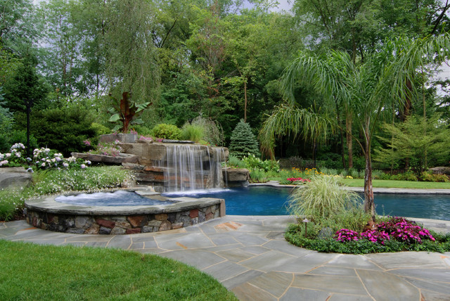 NJ Design Inground Swimming Pool Waterfalls With Spa Tropical Pool