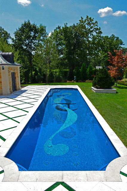 Alpine Nj Custom Glass Tile Inground Swimming Pool Design Nj Traditional Pool New York