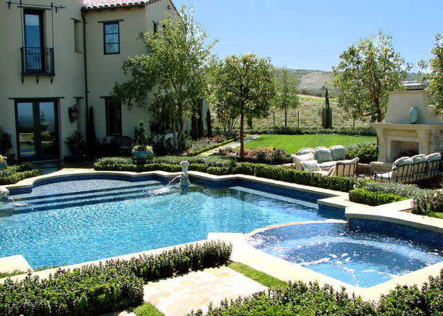 Ams landscape design studios mediterranean pool los for Pool landscape design