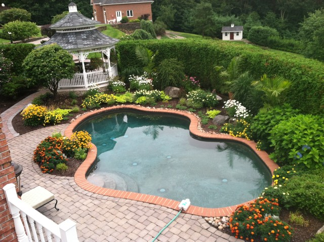 Annuals focal bed planting traditional pool other for Garden designs by jacqueline