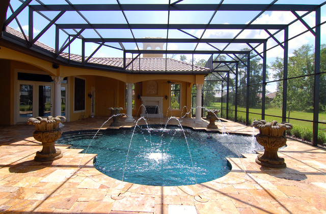Antique Gold Travertine Pavers mediterranean-pool
