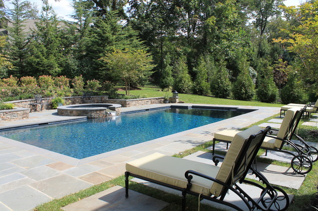 Aqua bello designs custom pools traditional pool for Traditional swimming pool designs