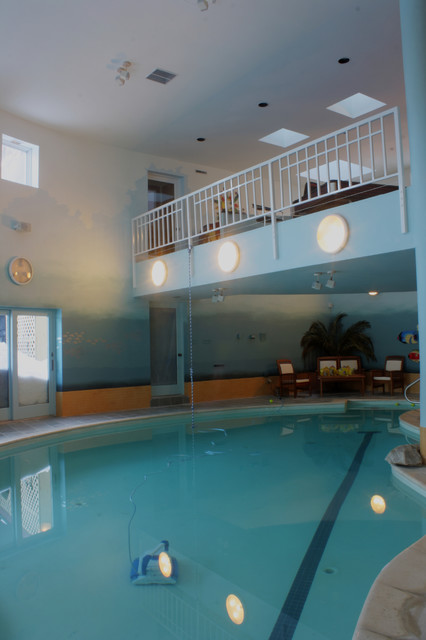 Aqua Ombre Paint Finish On Indoor Pool Walls Beach Style Pool Boston By Arteriors