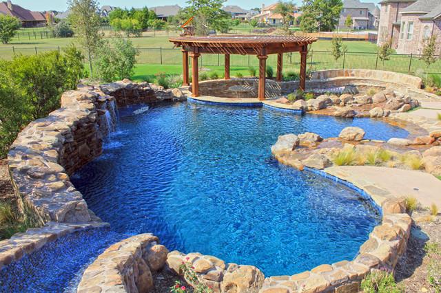 Aquarius custom swimming pool flower mound tx for Swimming pool designs with slides