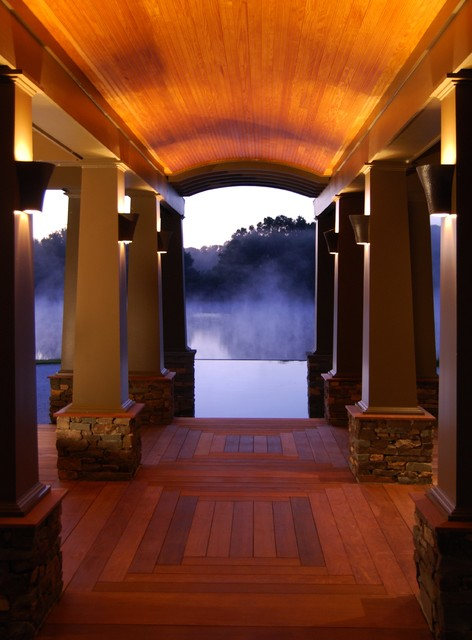Architectural Columns frame the infinity pool view modern-pool