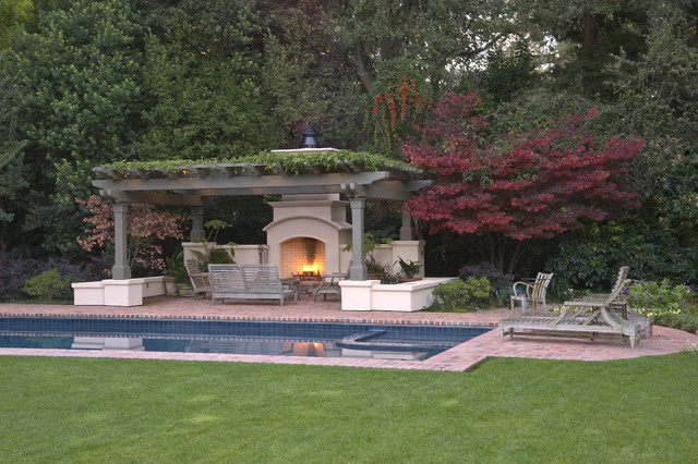 Atherton residence pool and patio for Pool design houzz
