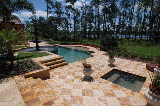 Autumn Blend & Ivory Travertine Pavers tropical-pool