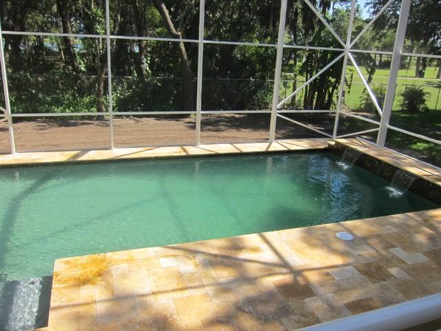 Autumn Blend Travertine Pavers traditional-pool