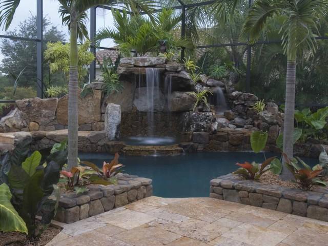 Autumn Blend Travertine Pavers tropical-pool