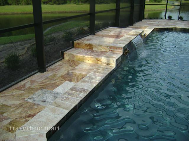 autumn blend tumbled travertine pavers - traditional - pool