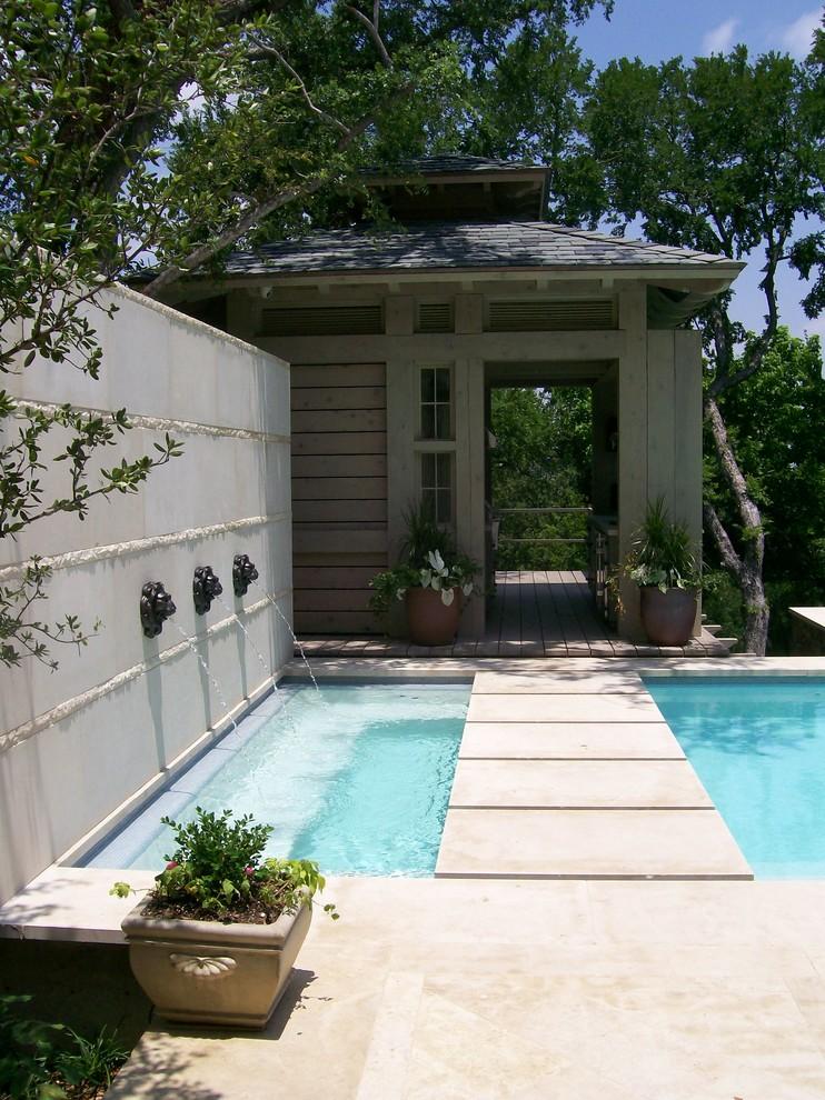 Pool fountain - traditional rectangular pool fountain idea in Dallas