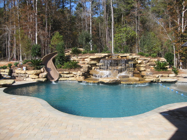 Back Yard Water Slide-Water Fall traditional-pool - Back Yard Water Slide-Water Fall - Traditional - Pool - Other - By