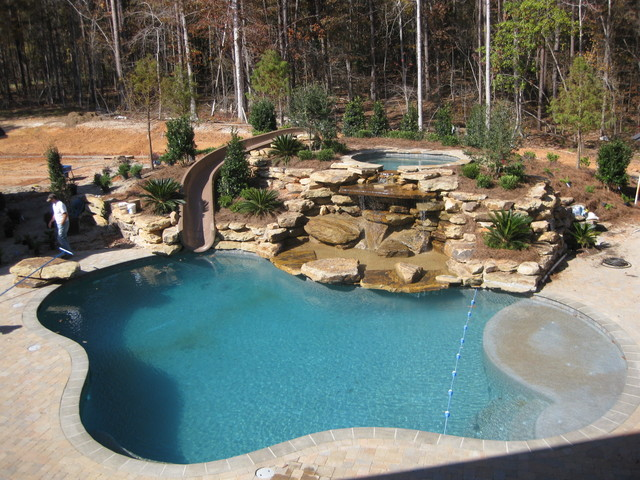 Attrayant Inground Pools With Waterslides. Backyard Pool Designs With Slides Inground  Pools Waterslides G
