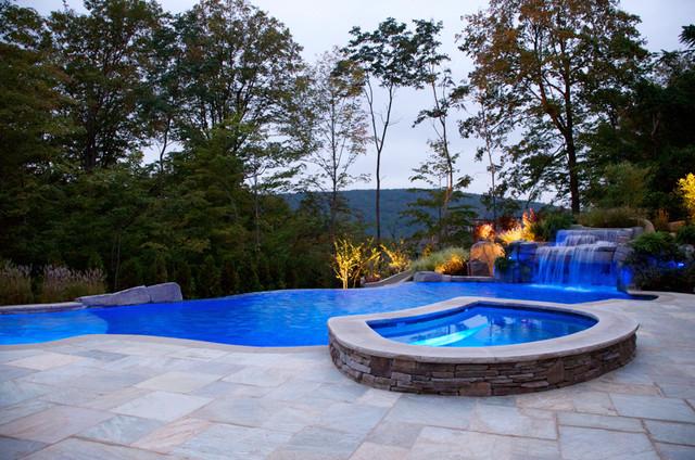 Backyard Infinity Swimming Pool Waterfall Design Bergen County NJ