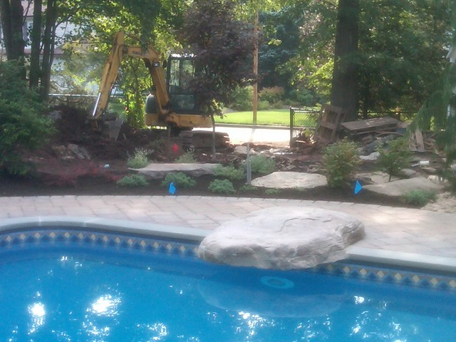 Tiered Backyard With Pool : backyard landscape firepitwaterfalltiered patios poo