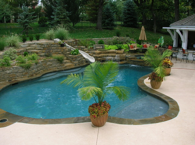 Backyard Living Tropical Pool Kansas City By Banks
