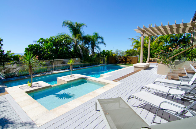 Backyard makeover modern pool sunshine coast by for Backyard makeover with pool