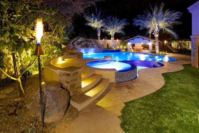 Backyard Oasis Pool Spa Swim Up Bar Grotto Slides