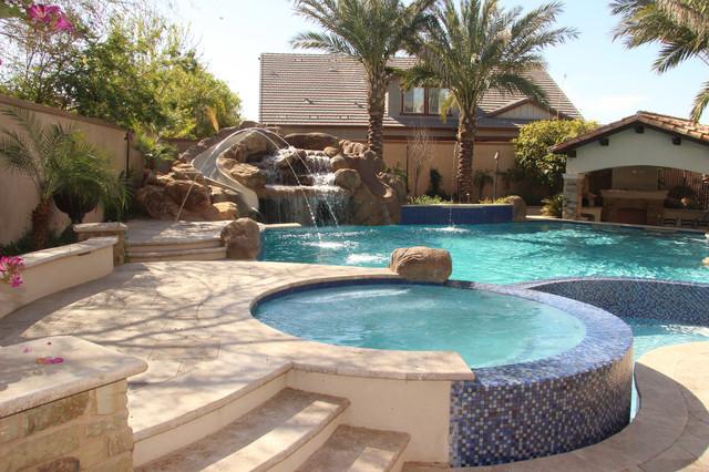 Backyard Oasis Pool Spa Swim Up Bar Grotto Slides