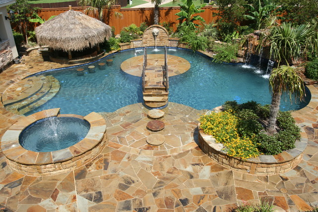 Backyard Paradise - tropical - pool - dallas - by El Dorado Pools