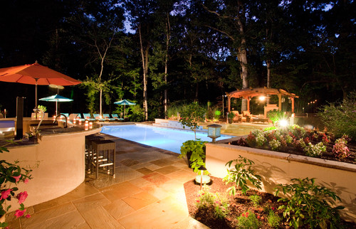 Backyard Pool Entertainment Area - Potomac, MD