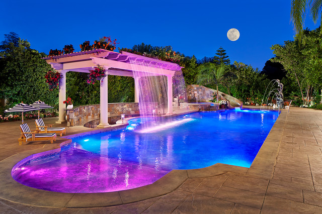Backyard Resort With Fiber Optic Pool Lighting