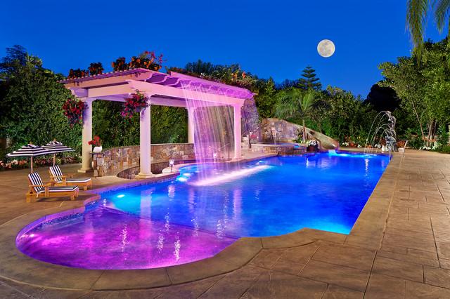 Backyard resort with fiber optic pool lighting mediterranean swimming pool hot tub los for Natural swimming pools los angeles