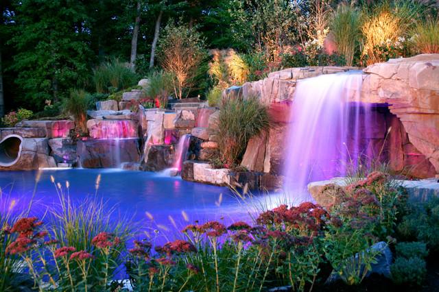 Backyard Swimming Pool Waterfall Grotto Design Bergen County Nj